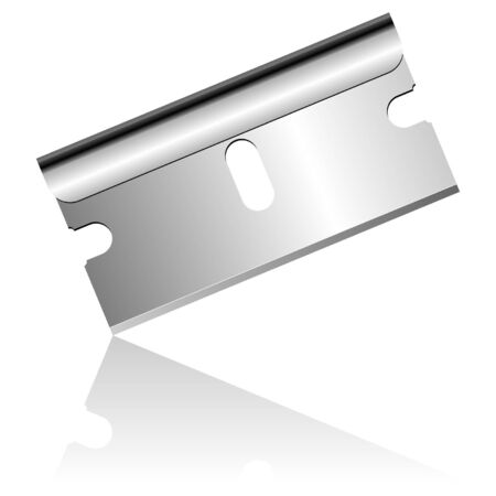 razor blade: Stainless steel blade isolated over white background Illustration