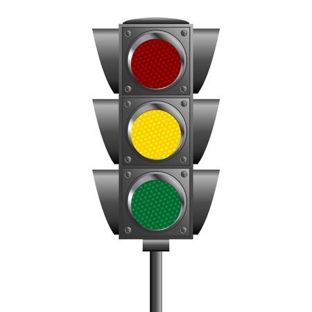 traffic pole: Traffic lights pole isolated over white background