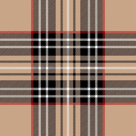 textura lana: Cl�sicos de tela de cuadros escoceses beige Vectores