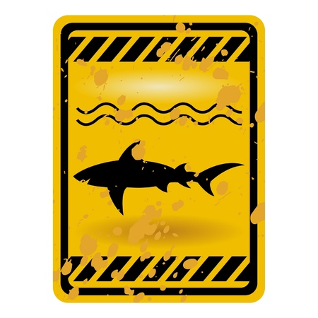 high sea: Grunge shark attack warning sign isolated over white