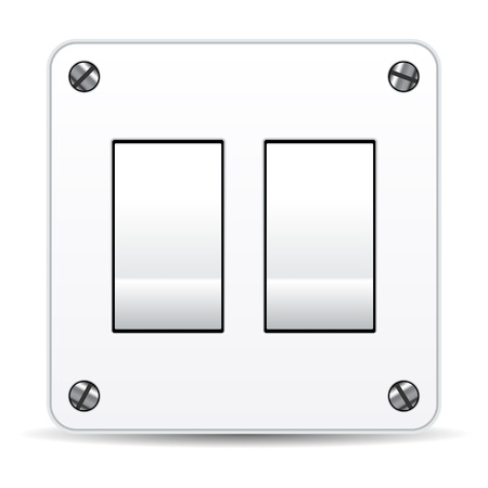 Dual light switch isolated over white background Vector