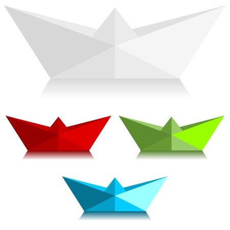 Paper boats over white background Illustration