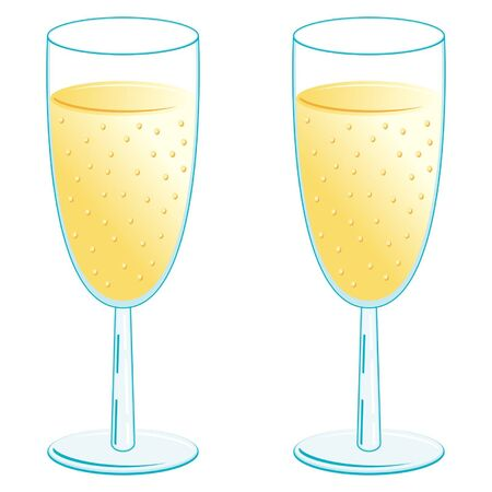 Champagne glasses over white background Stock Vector - 10726962