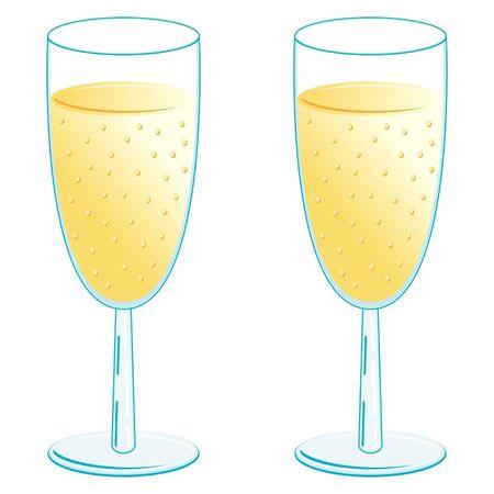 Verres à Champagne sur fond blanc Vecteurs