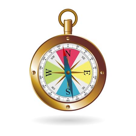 puntos cardinales: Brújula caja de oro sobre fondo blanco Vectores