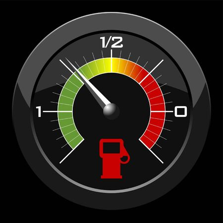 fuel gauge: Fuel gauge colored scale over black background Illustration