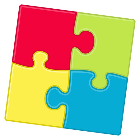 Puzzle pieces background with four different colors Illustration