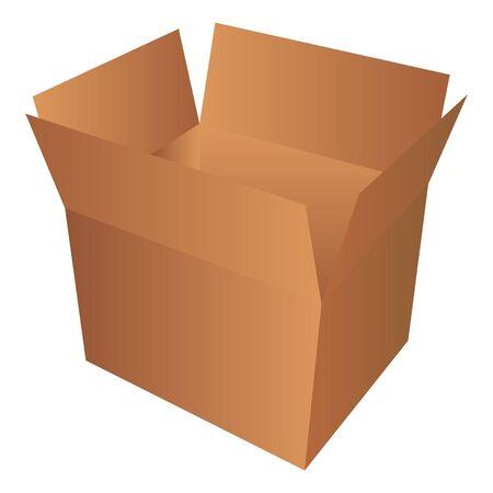 receptacle: Cardboard box isolated over white background Illustration