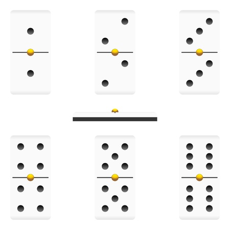 Different dominoes pieces isolated over white background Illustration