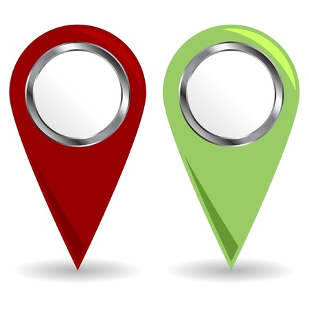 navigation icons: Location icons with copy space over white