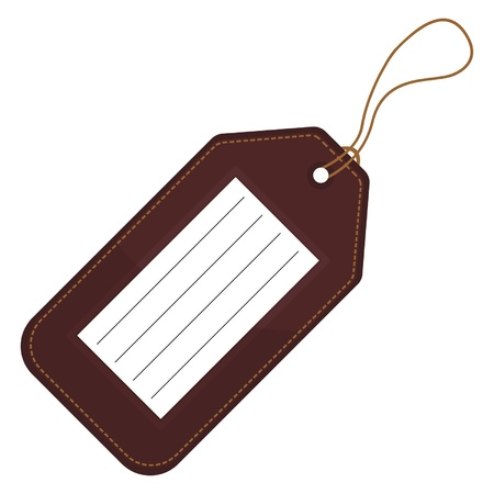 identify: Luggage tag with copy space over white background