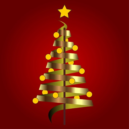 Abstract Christmas tree over red background Vector