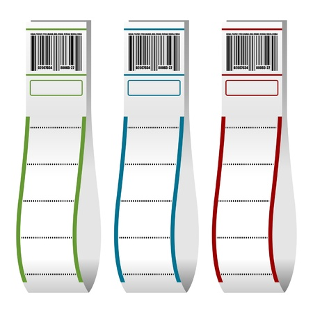 barcode: Luggage paper tags with barcode over white background Illustration