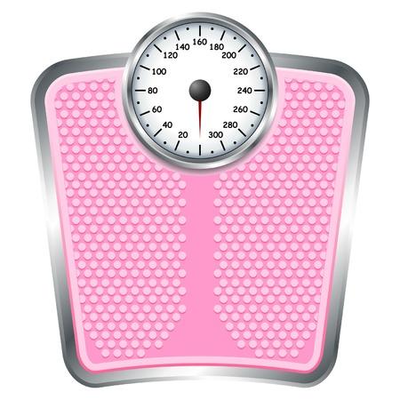 balanza en equilibrio: B�scula de ba�o de color rosa sobre fondo blanco aislado Vectores