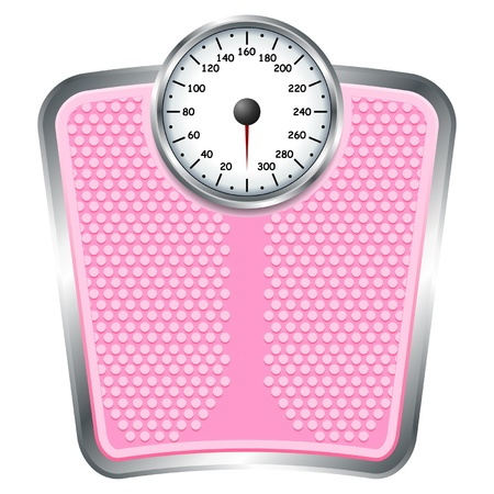 scale weight: Bathroom pink scale isolate over white background