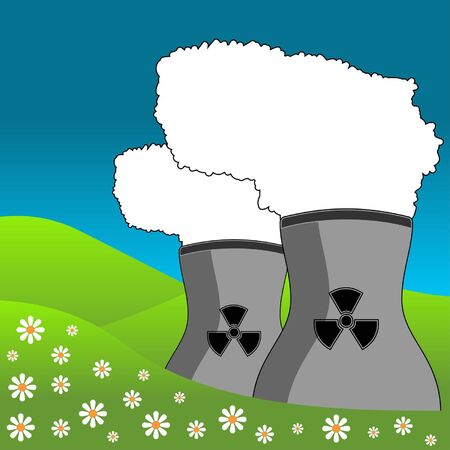 polluting: Nuclear energy power plant polluting the landscape Illustration