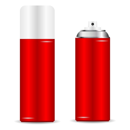 Spray can with and without cap over white Vector