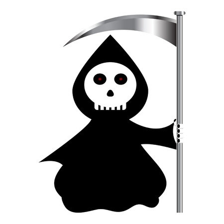 brutal: Funny reaper cartoon isolated over white background Illustration