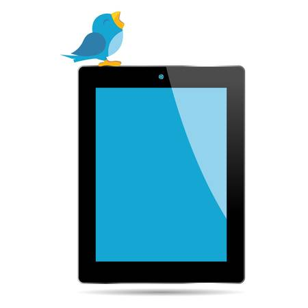 Bird twitting on top of a tablet over white Stock Vector - 11274912