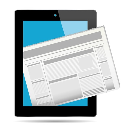 News concept out from a tablet over white Stock Vector - 11274914