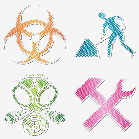 gas mask warning sign: Scribbled warning symbols stickers with different colors Illustration