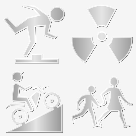 Different warning symbols stickers set over white Vector