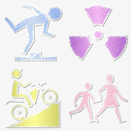 Scribbled warning symbols stickers set with different colors Stock Vector - 11528460