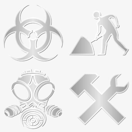 gas mask warning sign: Different warning symbols stickers