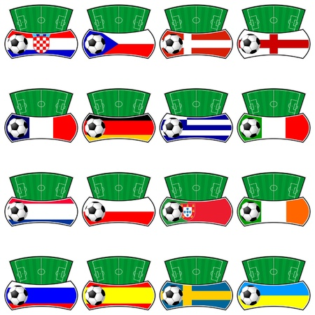 Euro 2012. Fantasy shields with flags. Contenders teams. Vector