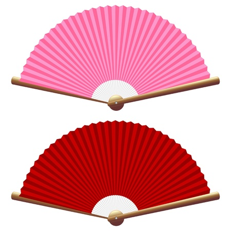 paper fan: Pink and red folding fan isolated over white