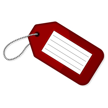 travel luggage: Red luggage tag with copy space over white background