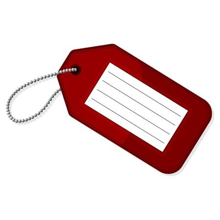 bagage: Rouge �tiquette � bagages avec copie espace sur fond blanc Illustration