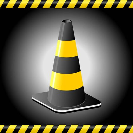 Traffic cone background with tape lines Vector