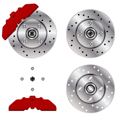ventilated: Car brake disk system isolated over white background