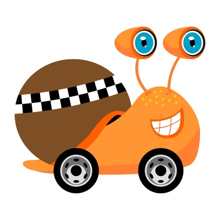 Racer snail cartoon isolated over white background Vector