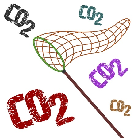 health threat: Fighting pollution catching CO2 with net conceptual image