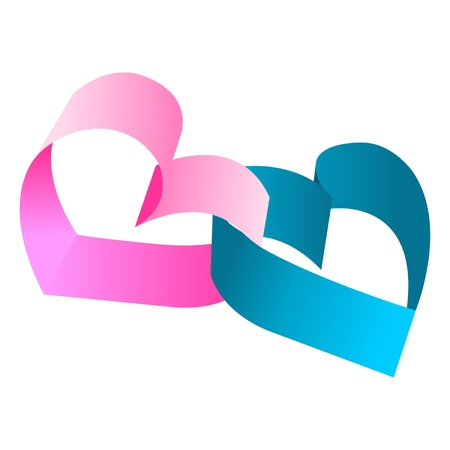entwined: Entwined blue and pink hearts over white background