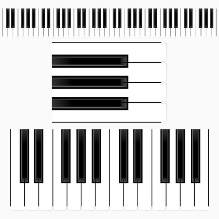 Teclas de piano con el teclado de la representación de diferentes tamaños