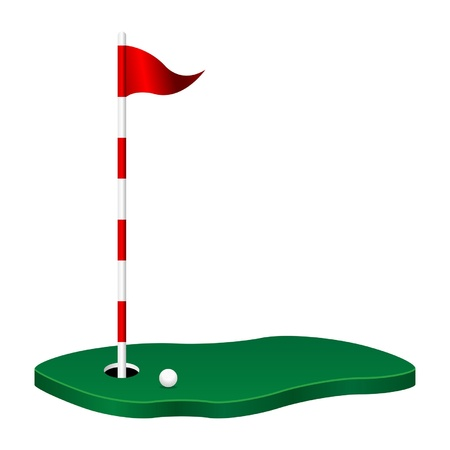 sports flag: Golf theme with green flag pole and ball