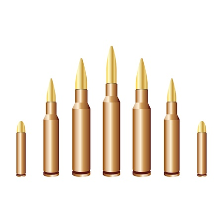 caliber: Different caliber bullets isolated over white background