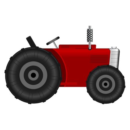 Red tractor isolated over white background