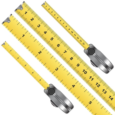 measure tape: Tape measure inches and centimeter scale over white Illustration