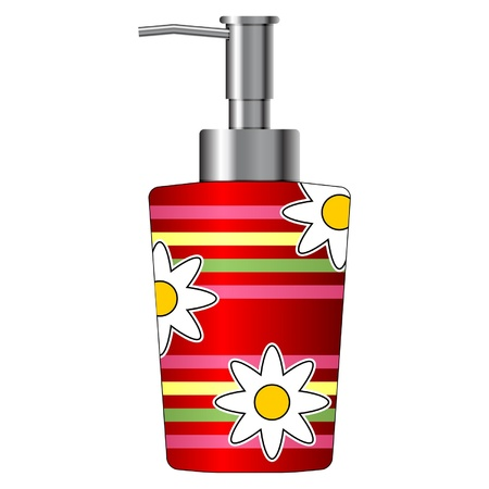 Dispensador de jabón de colores aislados sobre fondo blanco