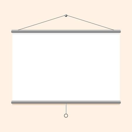 projector screen: Portable schermo del proiettore appeso al muro Vettoriali