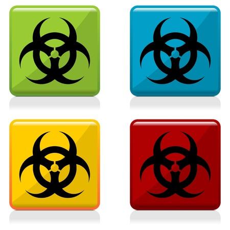 sustancias toxicas: Botones de signo de riesgo biológico con cuatro colores diferentes Vectores