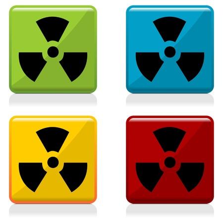 radiactividad: Botones de radiactividad signo con cuatro colores diferentes