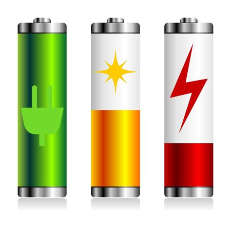 battery acid: Different batterie charge symbols over white background