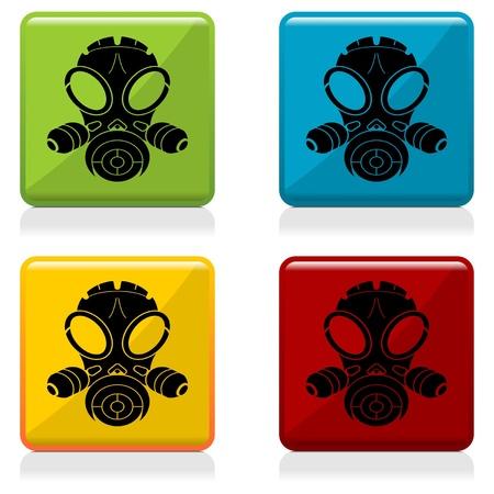 mascara de gas: Gas botones de máscara de signo con cuatro colores diferentes Vectores