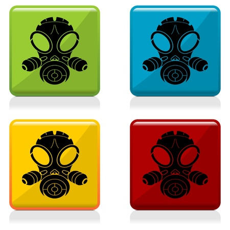 Gas mask sign buttons with four different colors Vector