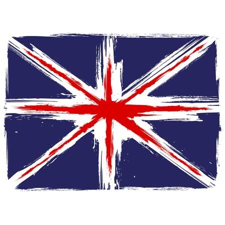 bandera inglaterra: Grunge bandera de Union Jack sobre fondo blanco